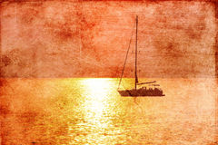 Yacht in the sea at sunset Royalty Free Stock Photography
