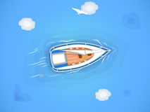 Yacht in the sea. Top view through the clouds on a white yacht sailing, floating on the waves of the sea. Vector illustration Stock Image
