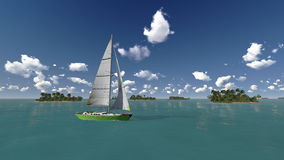 Yacht, sea and tropical islands Royalty Free Stock Images