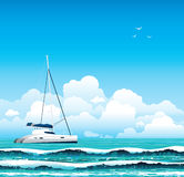 Yacht and sea with waves Stock Images