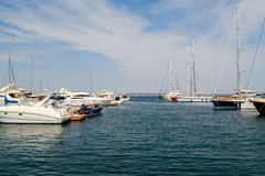 Yacht seaport, landscape view. Blue sky, summer tourism. Summer blue sky and yacht seaport landscape Stock Photography