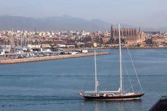 Yacht in seaport water area. Palma-de-Majorca, Spain. 22-11-2016 royalty free stock photo