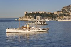 Yacht and seaside view of Monte-Carlo, the Principality of Monaco, Western Europe on the Mediterranean Sea Royalty Free Stock Photography