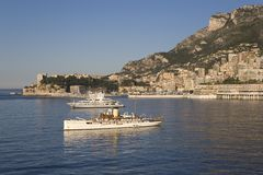 Yacht and seaside view of Monte-Carlo, the Principality of Monaco, Western Europe on the Mediterranean Sea Royalty Free Stock Images
