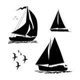 Yacht, segelbåtar och fiskmåsuppsättning stock illustrationer