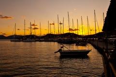 Yacht in sera Immagini Stock Libere da Diritti