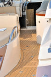 Yacht setup and aisle. Under sunshine, shown as yacht hardware, facilities, environment and marine activity Stock Image