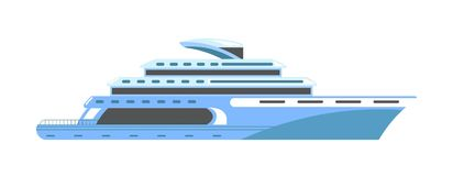 Yacht or ship cruise liner or speedboat vector flat isolated icon. Yacht or ship cruise liner and speedboat. Vector flat isolated icon of ocean travel vessel or Stock Images