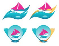 Yacht, ship icons set Royalty Free Stock Photo