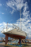 Yacht at shipyard Stock Image