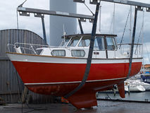 Yacht in a shipyard. For repair and periodic maintenance Stock Image