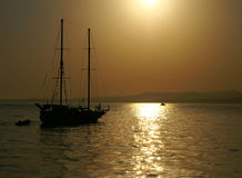 Yacht silhouette. And sunset at Red sea, Egypt Stock Image