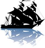 Yacht silhouette with reflection Stock Photography