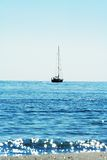Yacht Silhouette / shining sea Stock Photography