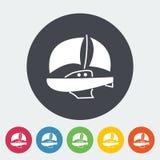 Yacht. Single flat icon on the circle. Vector illustration stock illustration