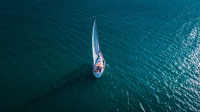 Yacht from the sky, sailboat in Valencia royalty free stock image