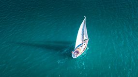 Yacht from the sky, sailboat in Valenciain Valencia, Spain. Yacht from the sky, sailboat in Valencia town, Valencia, Spain  c Royalty Free Stock Images