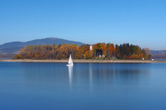Yacht and Slanica Island, Slovakia Royalty Free Stock Images
