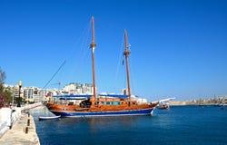 Yacht in Sliema harbour. stock photos