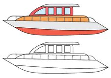 Yacht som färgar sidan också vektor för coreldrawillustration stock illustrationer