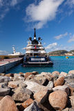 Yacht in St. Maarten, Caribbean Stock Photo