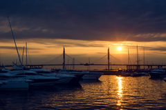 Yacht standing at the pier sunset in summer Royalty Free Stock Image