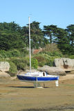 Yacht standing on sand Royalty Free Stock Photo