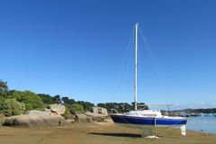 Yacht standing on the shore Stock Photos