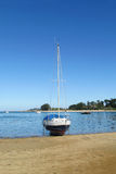 Yacht standing on the shore Royalty Free Stock Images