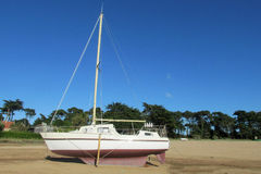 Yacht standing on the shore Stock Images