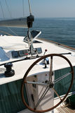 Yacht steering. A large steering wheel on a yacht Stock Photo
