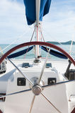 Yacht steering wheel and controllers, traveling in a luxury life Royalty Free Stock Photography