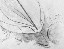 Yacht in the storm. Hand drawn rough pencil sketch of a yacht in the storm Stock Photography