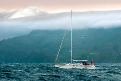 The yacht in a stormy ocean Royalty Free Stock Photos
