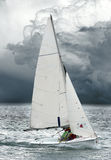 The yacht on stormy sea. Royalty Free Stock Photography