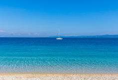 Yacht on stunning bay in Croatia Royalty Free Stock Photos