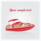 Yacht stylisé fait de configurations de fleur. Images libres de droits