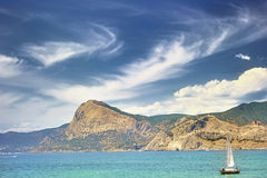 Yacht in the Sudak Bay Royalty Free Stock Images