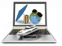 Yacht with suitcase, globe and umbrella on laptop screen Royalty Free Stock Photography