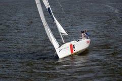 Yacht sul fiume di Dnipro Fotografie Stock Libere da Diritti