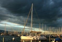 Yacht sul lago Ginevra Fotografia Stock Libera da Diritti