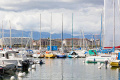 Yacht sul lago, Ginevra, Svizzera Immagine Stock Libera da Diritti