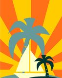 Yacht on sun rays backdrop Royalty Free Stock Photos