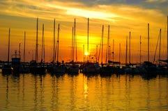 Yacht sunrise Stock Photo