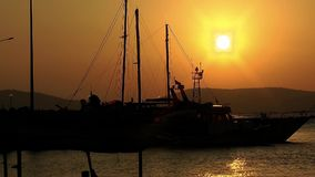 Yacht in Sunrise stock footage