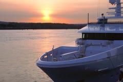 Yacht & sunset. Stock Photo