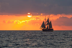 Yacht in Sunset stock images