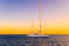 Yacht During Sunset royalty free stock image