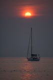 Yacht on the sunset Royalty Free Stock Image