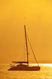 Yacht and sunset Stock Photography